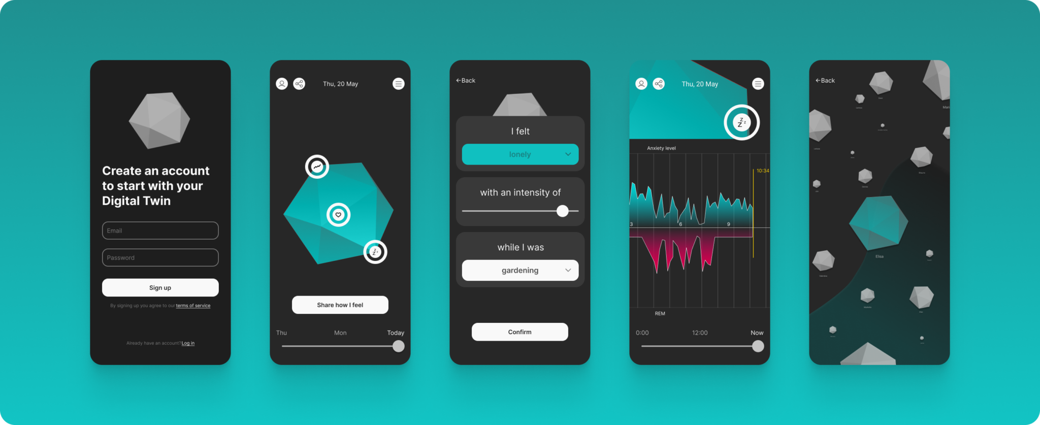 Mock-ups of our first wireframe iteration